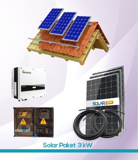 Solar Paket 3 kW On Grid Güneş Enerji Sistemi Growatt inverter
